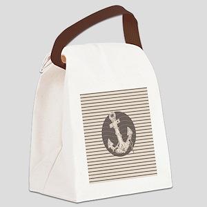 shabby chic anchor nautical strip Canvas Lunch Bag