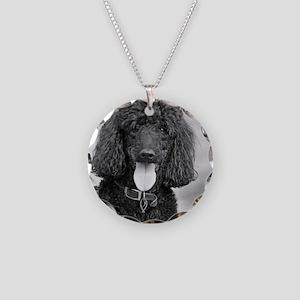 Black Poodle Necklace Circle Charm
