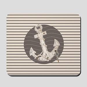 shabby chic anchor nautical stripes Mousepad