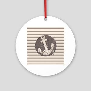 shabby chic anchor nautical stripes Round Ornament