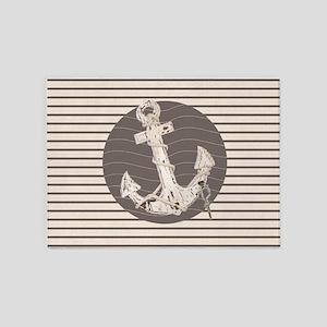 shabby chic anchor nautical stripes 5'x7'Area Rug