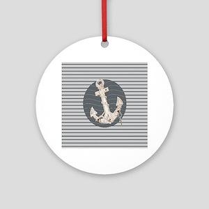 grey nautical stripes anchor Round Ornament