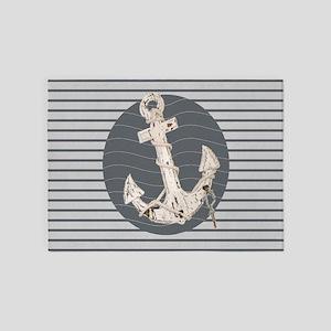 grey nautical stripes anchor 5'x7'Area Rug