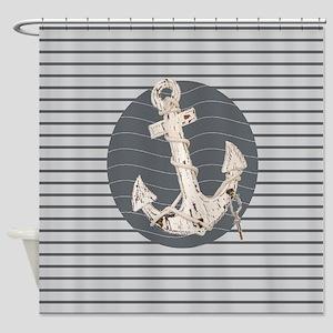 grey nautical stripes anchor Shower Curtain