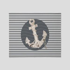 grey nautical stripes anchor Throw Blanket