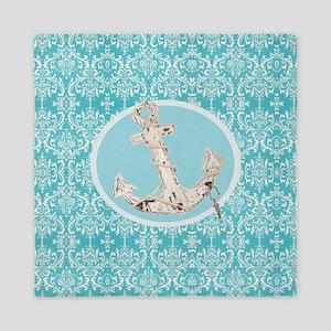 turquoise damask nautical anchor Queen Duvet