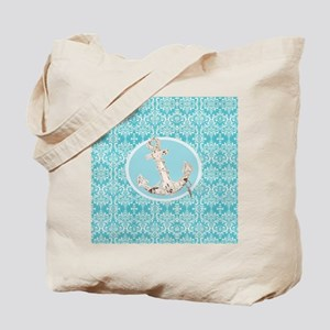 turquoise damask nautical anchor Tote Bag