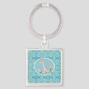 turquoise damask nautical anchor Square Keychain