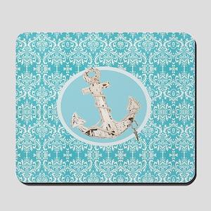 turquoise damask nautical anchor Mousepad