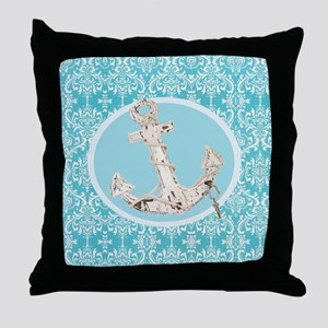 turquoise damask nautical anchor Throw Pillow