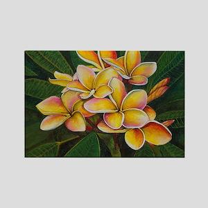 Rainbow Plumeria Rectangle Magnet