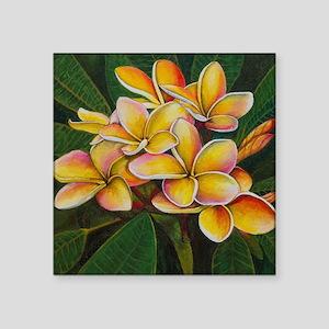 """Rainbow Plumeria Square Sticker 3"""" x 3"""""""