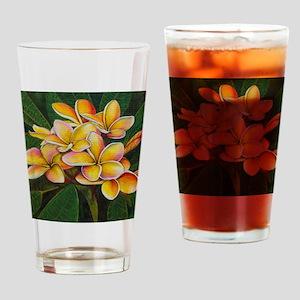 Rainbow Plumeria Drinking Glass