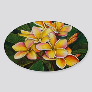 Rainbow Plumeria Sticker (Oval)