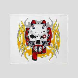 Cyborg Tribal Skull Throw Blanket