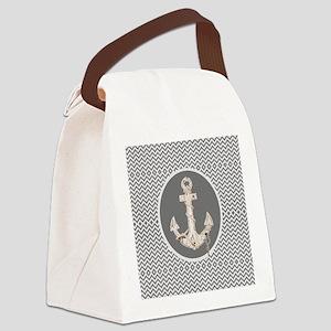 shabby chic anchor chevron  Canvas Lunch Bag