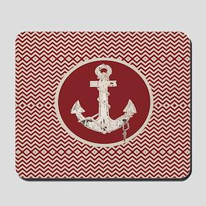 red chevron nautical anchor Mousepad