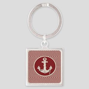 red chevron nautical anchor Square Keychain