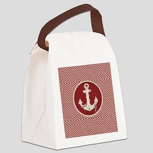 red chevron nautical anchor Canvas Lunch Bag