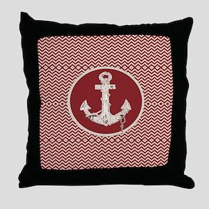 red chevron nautical anchor Throw Pillow