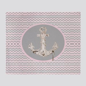 anchor girly pink chevron Throw Blanket