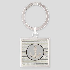 beach anchor sage mint chevron  Square Keychain