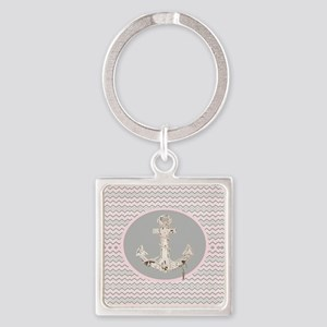 anchor girly pink chevron Square Keychain