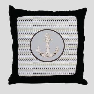 beach anchor sage mint chevron  Throw Pillow