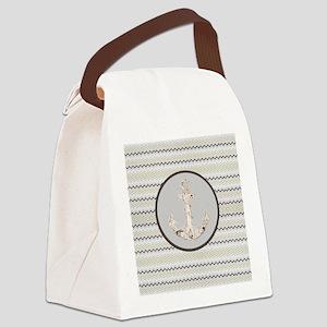 beach anchor sage mint chevron  Canvas Lunch Bag