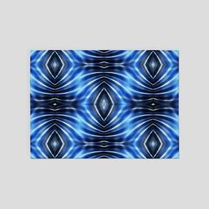 blue batik tribal pattern 5'x7'Area Rug
