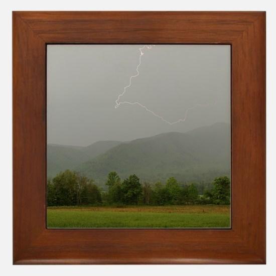 Lightning at Cades Cove Framed Tile