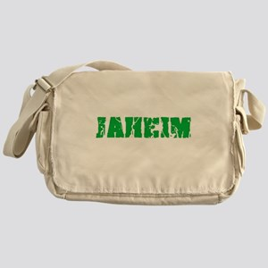 Jaheim Name Weathered Green Design Messenger Bag