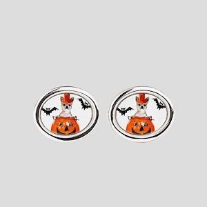 Halloween Chihuahua dog Oval Cufflinks