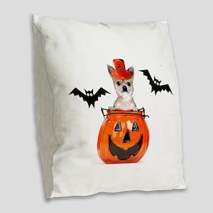 Halloween Chihuahua dog Burlap Throw Pillow