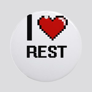 I Love Rest Digital Design Round Ornament