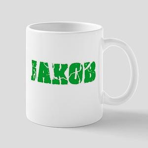 Jakob Name Weathered Green Design Mugs