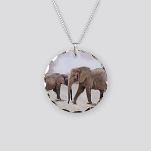 The Elephants Necklace Circle Charm