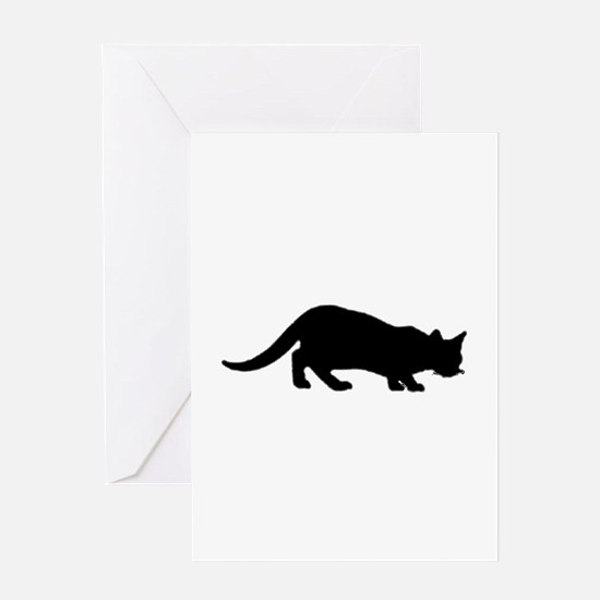 maine coon silhouette Greeting Cards