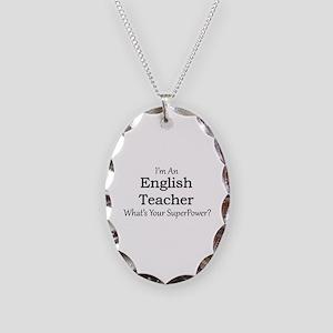 English Teacher Necklace Oval Charm