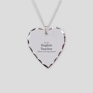 English Teacher Necklace Heart Charm