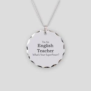 English Teacher Necklace Circle Charm