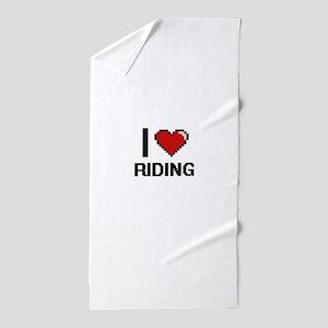 I Love Riding Digital Design Beach Towel