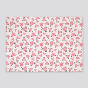 Pretty Pink Flowers Pattern 5'x7'Area Rug