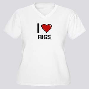 I Love Rigs Digital Design Plus Size T-Shirt