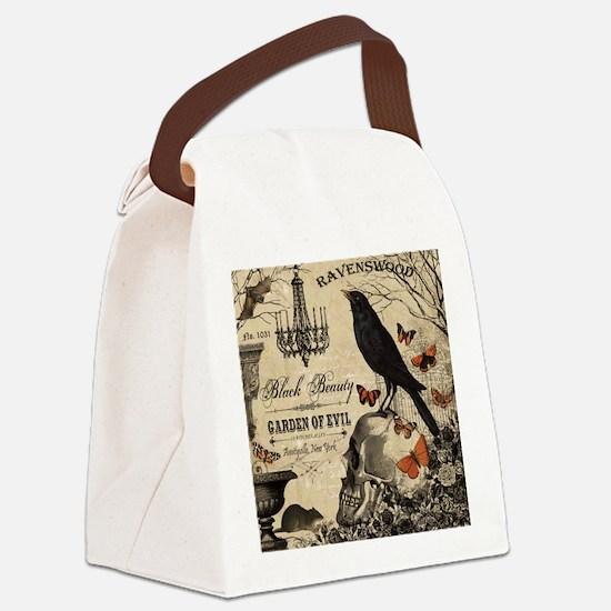 Modern vintage Halloween Canvas Lunch Bag