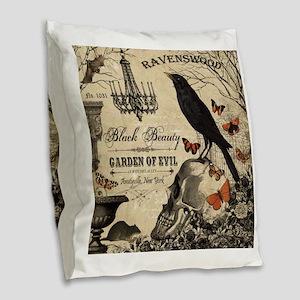 Modern vintage Halloween Burlap Throw Pillow