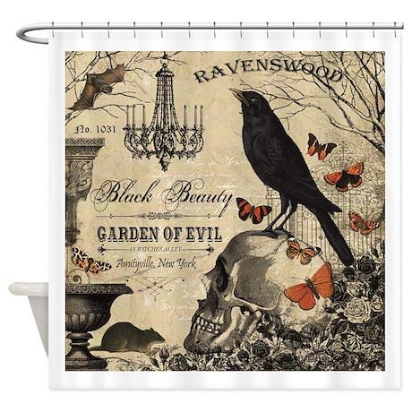 Halloween Shower Curtain | Modern Vintage Halloween Shower Curtain By Designsbyheathermyers1