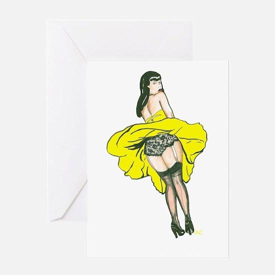 Windy Day Girl - Yellow Dress Greeting Card