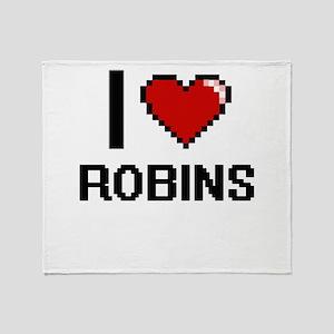 I Love Robins Digital Design Throw Blanket