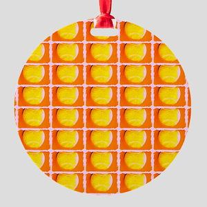 Tennis Ball Orange Artsy Fred's Fav Round Ornament